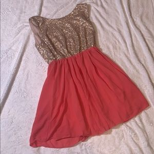 Gold & Peach Sequin Party Dress
